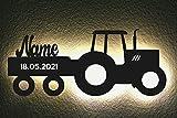 LED Deko Schlummerlicht Nachtlicht Name Traktor Traki der Traktor Anhänger mit Wunsch Datum,...