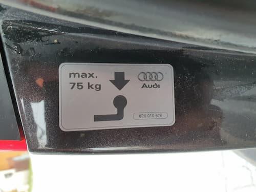 Maximale Stützlast Audi A3 für Heckbox